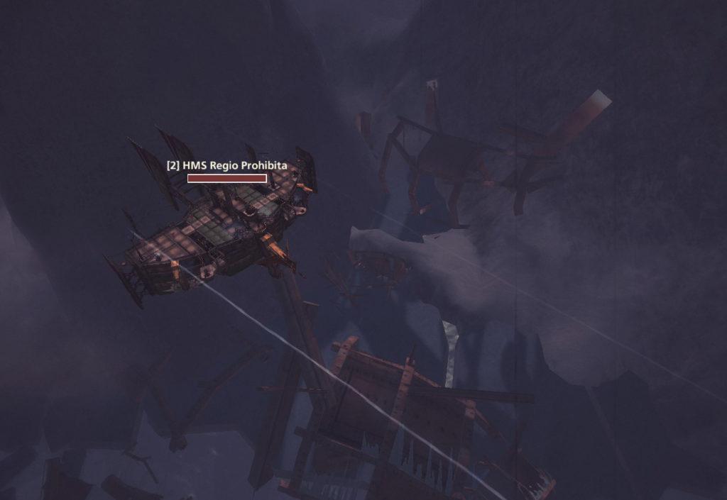 A long range ship taking pot shots at its enemies from afar. Image captured in-game.