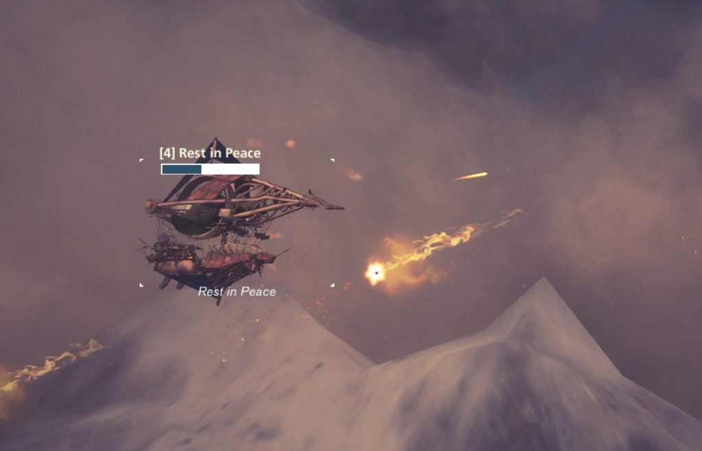 A ship under fire, quite literally. Image captured in-game.
