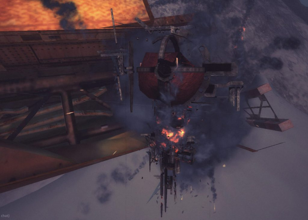 A ship meeting its demise during a battle. Image captured in-game using spectate mode.