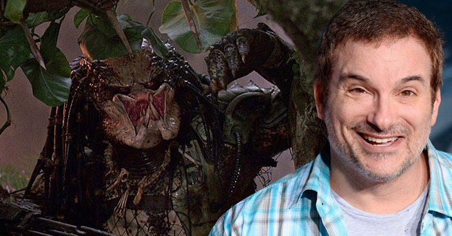 Predator director Shane Black beside The Predator, joblo