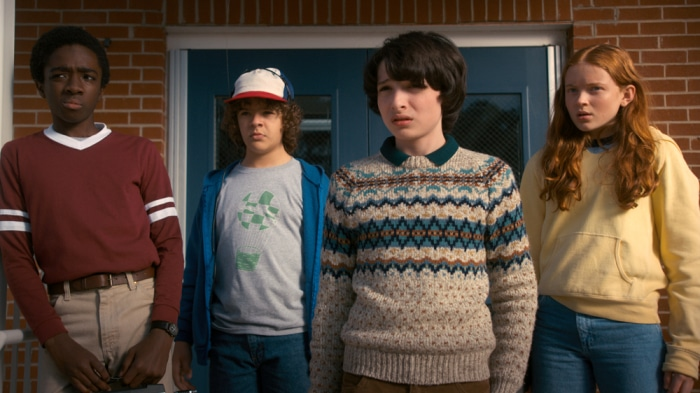 Stranger Things characters: Lucas, Dustin, Mike and Max.
